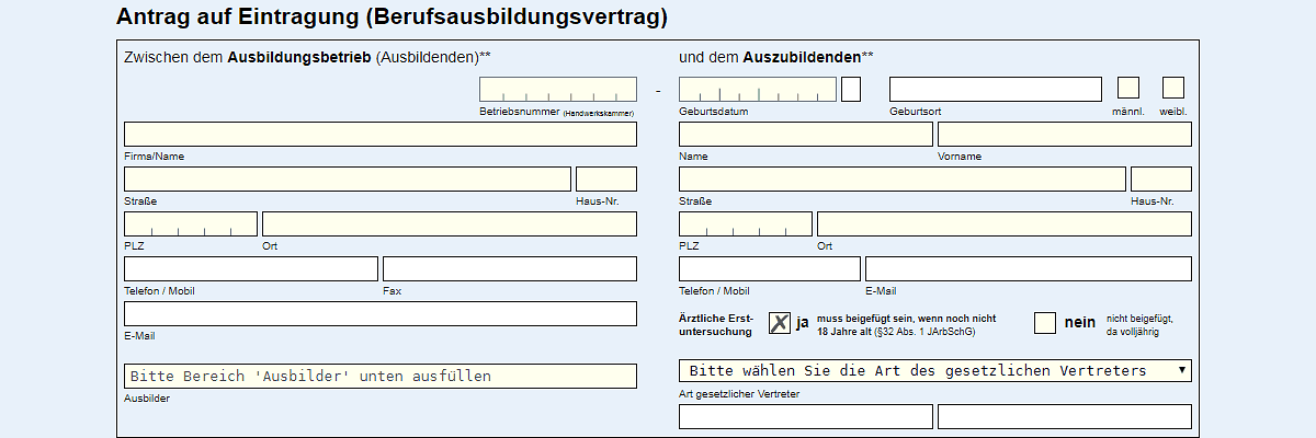 "Screenshot ""Lehrvertrag online"""
